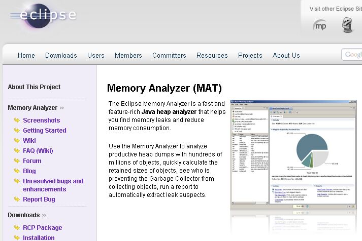 Eclipse Memory Analyzer (MAT)のサイト画像